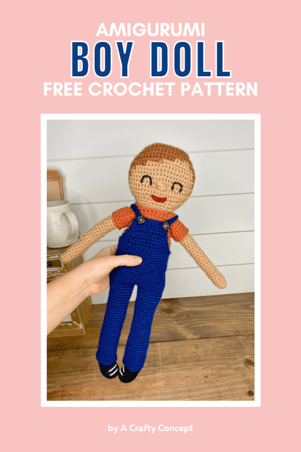 Learn how to make this adorable crochet little boy doll, complete with his overalls, all with little to no sewing. Free Grayson Doll crochet pattern.