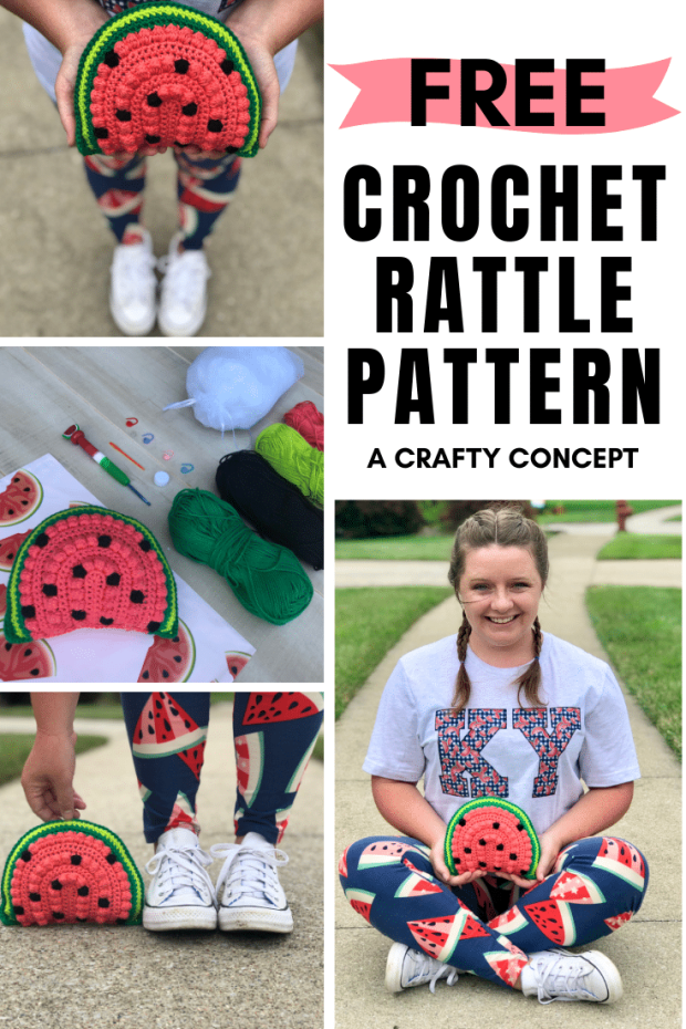 Learn how to make a crochet watermelon rattle by following this free, beginner-friendly crochet pattern! They make the perfect crochet summer baby gift.