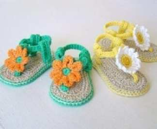 daisy baby sandal - baby shoes crochet pattern - baby gift