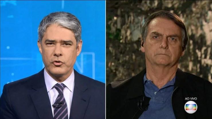 """Depois de eleito, em outubro de 2018, Bolsonaro deu uma entrevista ao """"Jornal Nacional"""", da TV Globo. Nela, ele afirmou que """"por si só, esse jornal se acabou"""". """"Não quero que [a Folha] acabe. Mas, no que depender de mim, imprensa que se comportar dessa maneira indigna não terá recursos do governo federal"""", afirmou"""