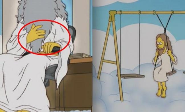 Cinco dedos Deus Jesus Simpsons
