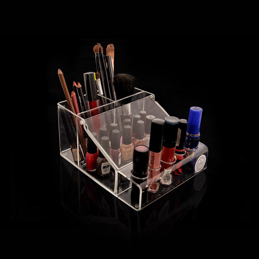 Organizador de cosméticos con bisagra y para 6 labiales de acrílico.