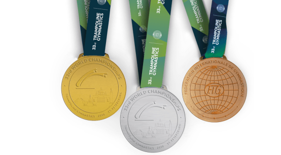 The medals for Russia 2018, the trampoline gymnastics world championships