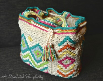 """Boho Chic"" Mosaic Tote Bag by A Crocheted Simplicity"