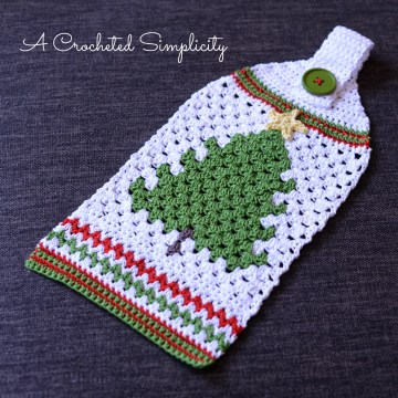 Free Crochet Pattern: Retro Christmas Tree Towel by A Crocheted Simplicity