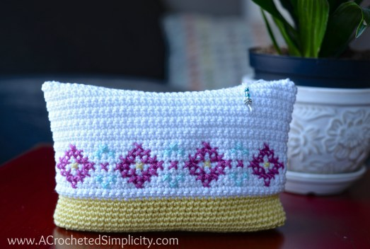 Free Crochet Pattern - Cross Stitch Make-Up Bag / Pouch by A Crocheted Simplicity