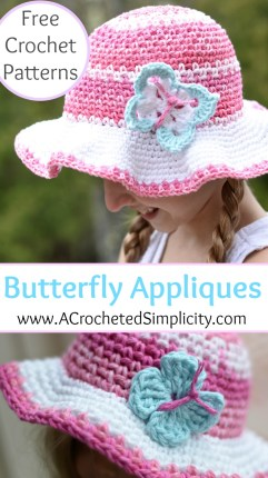Free Crochet Patterns - Butterfly Applique - 2 Styles & Sizes by A Crocheted Simplicity