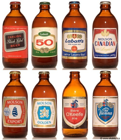 Classic Canadian Beers in Stubbies