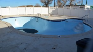 outdoor kidney swimming pool empty
