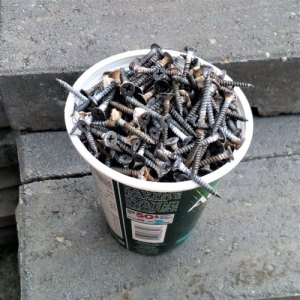 Removed drywall screws and nails in a yogurt container