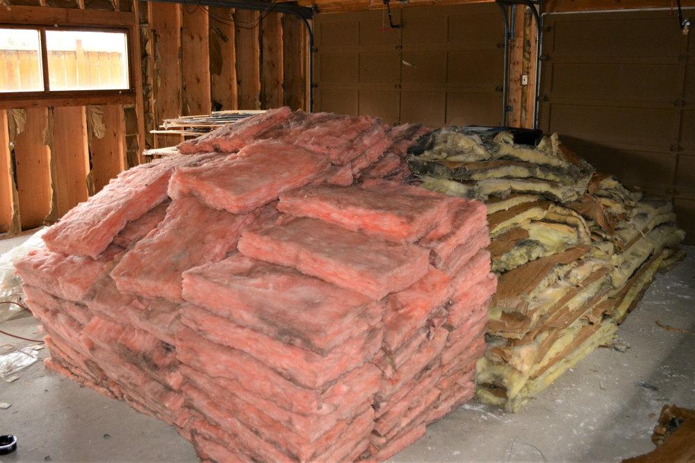 Scrap insulation from garage interior