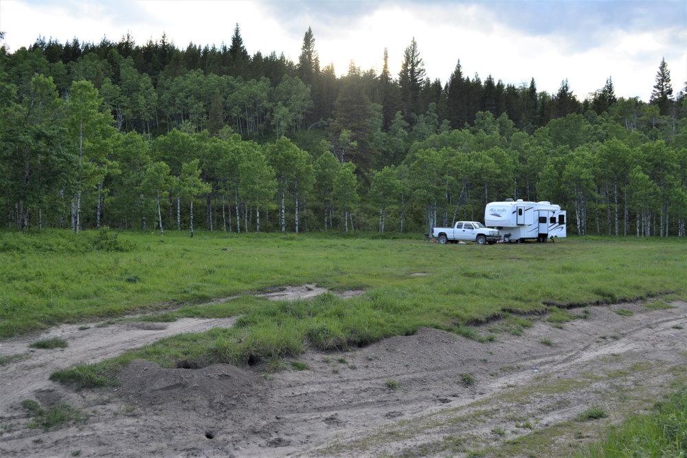 Rv and pickup truck in grassy field