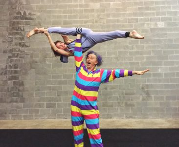 Acrobats are Danny Smith and Aniane Smith