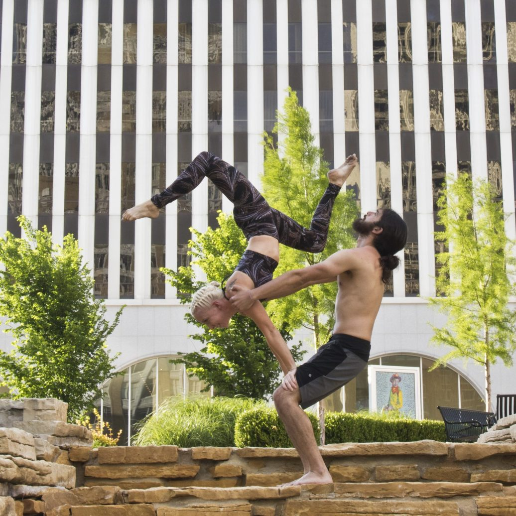 Acrobats are Stephen Hardie and Tami Coulson