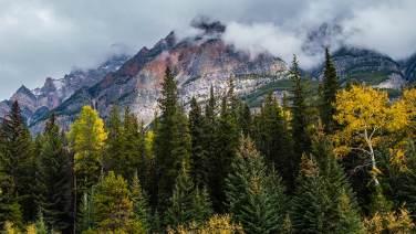 Die Wolken hängen tief in den Rockies.