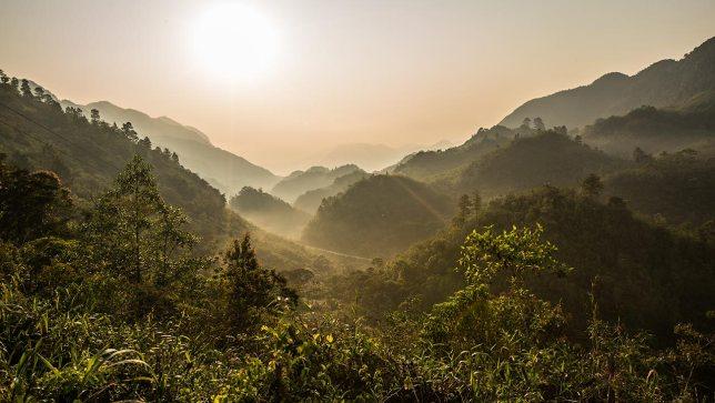 Typische Hügellandschaft im Hochland von Guatemala.