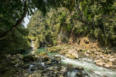 Wasserfall in Semuc Champey.
