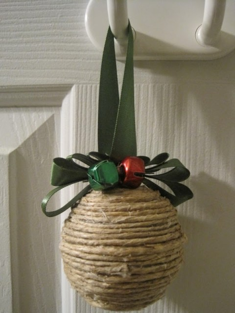 twine covered ornament