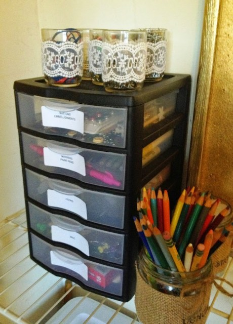 Craft Supply Closet Organization