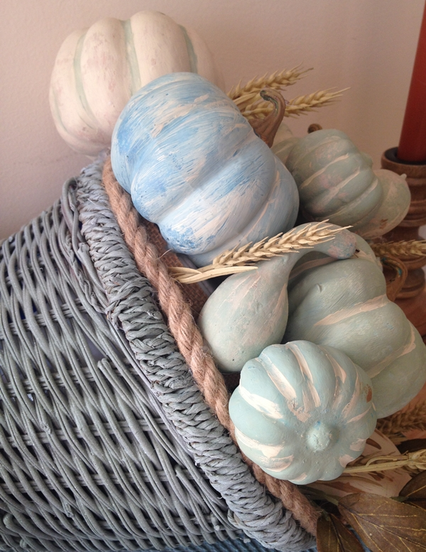 cornucopia with chalk painted pumpkins