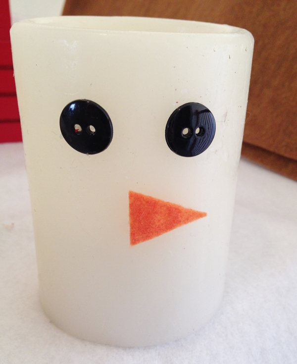 eyes and nose for snowman candle