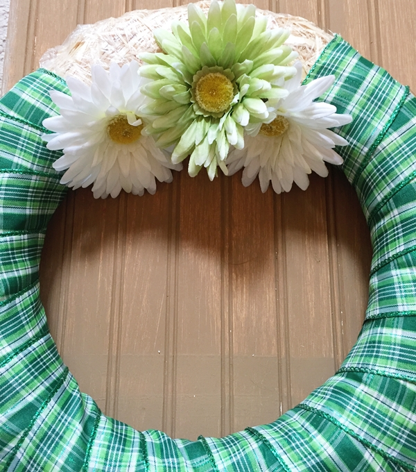 wrapped wreath with flowers