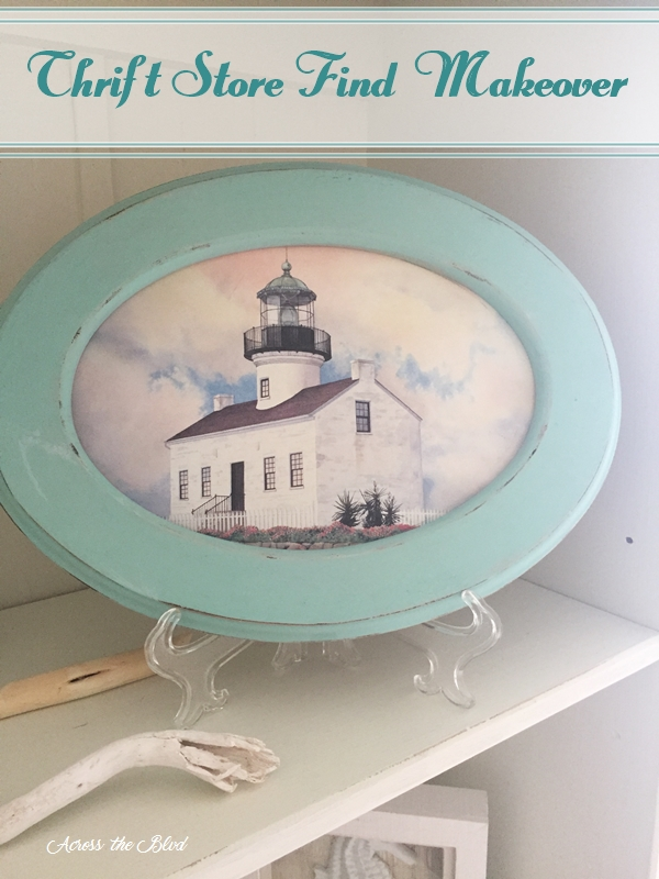 Coastal Decor Oval Frame Makeover Across the Blvd