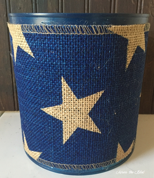 Coffee Can Wrapped in Burlap Ribbon