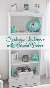 Bookcase Makeover with Coastal Decor Across the Blvd