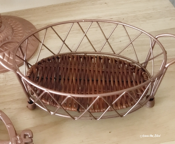 copper painted wire basket
