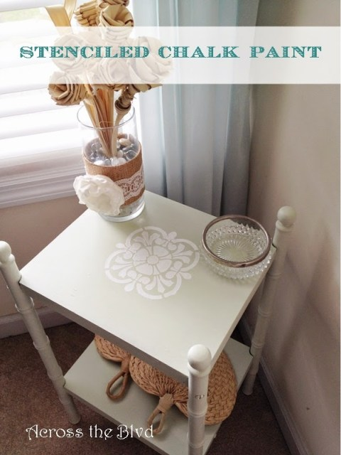 Side Table With Chalk Paint Pattern