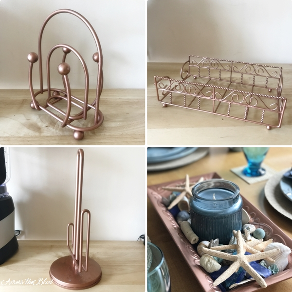 copper painted kitchen accessories