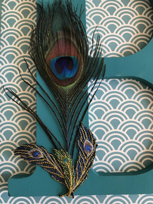 Personalized Peacock Decor Wall Art initial with feathers