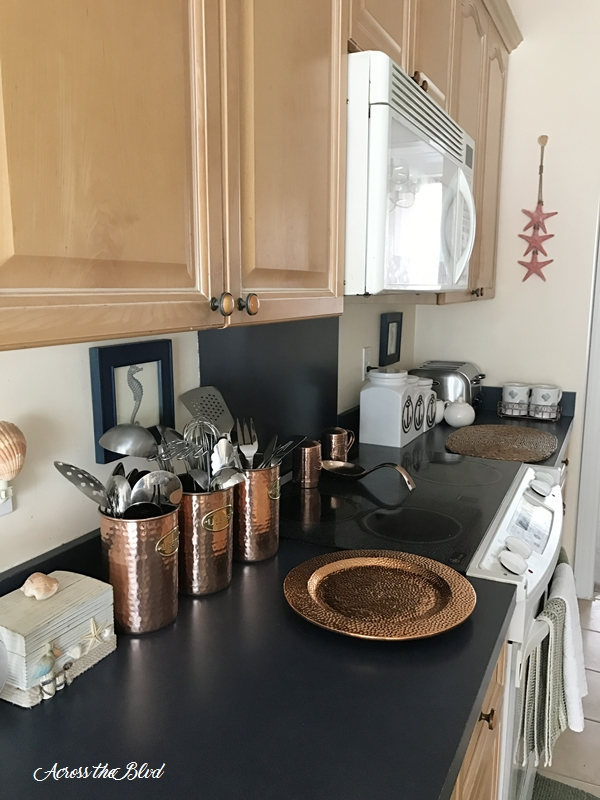 kitchen with copper accessories