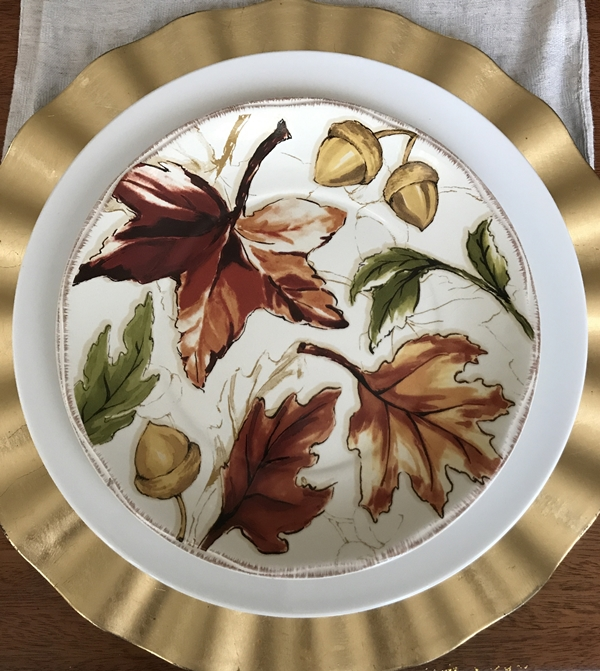 Thanksgiving Table Setting With DIY Place Cards leaf plate