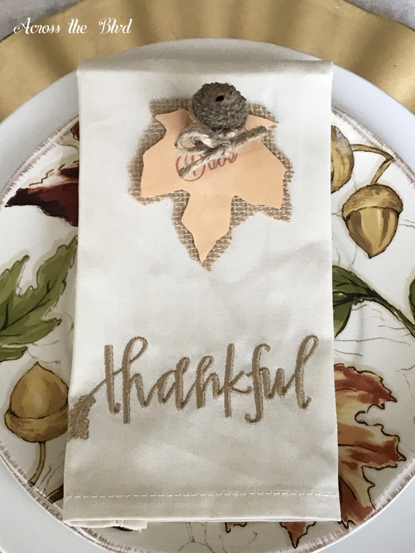 Thanksgiving Table Setting With DIY Place Cards setting