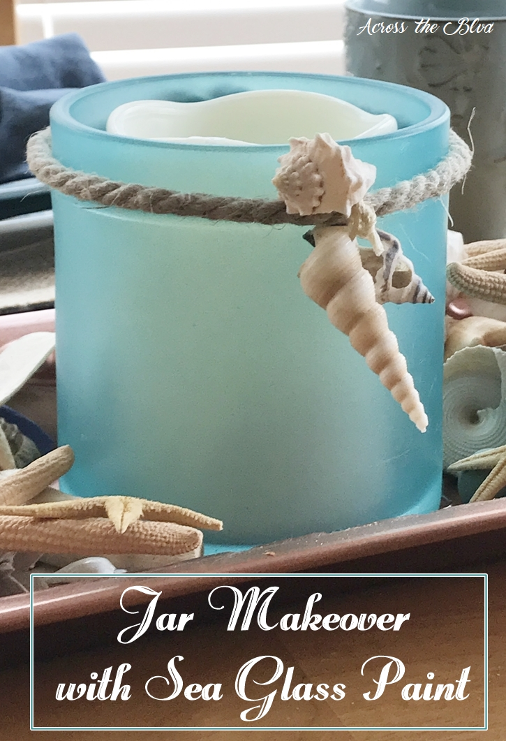 Coastal Jar Makeover with Sea Glass Paint Across the Blvd