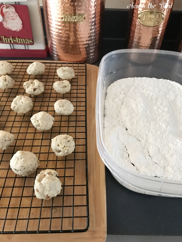 Snowball Pecan Cookies cooling