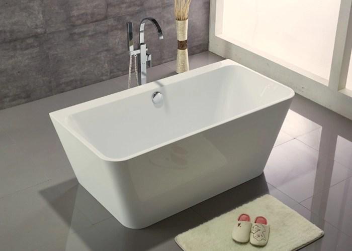 Acrylic Resin Square Freestanding Bathtub Contemporary