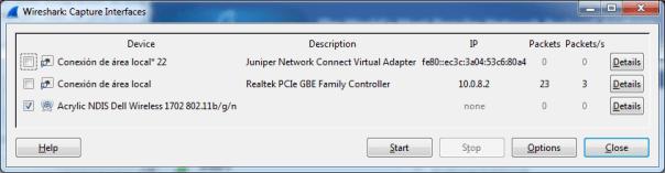 WiFi network card using Wireshark on Windows