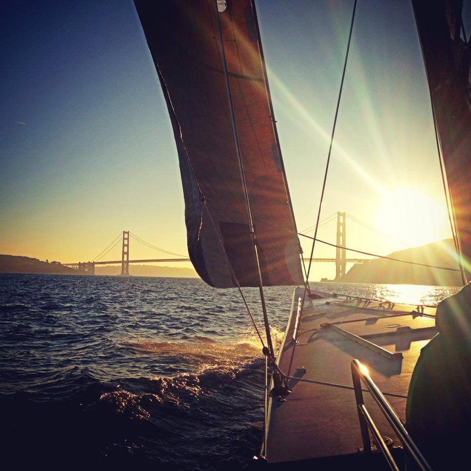 Sailing on San Francisco Bay during Sunset