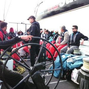 Crew Briefing on USA76 Carbon Fiber Yacht in San Francisco Bay