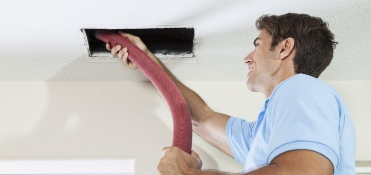 Repair / service man duct cleaning / vacuuming duct work