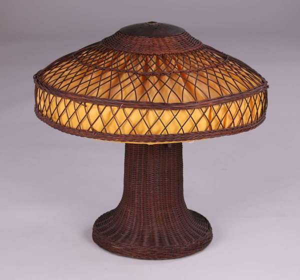 Arts & Crafts Wicker Lamp With Hammered Copper Fittings