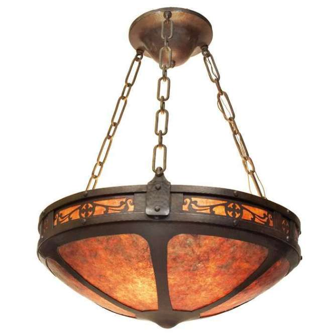 Michael Adams Hammered Copper Mica Chandelier California Historical Design