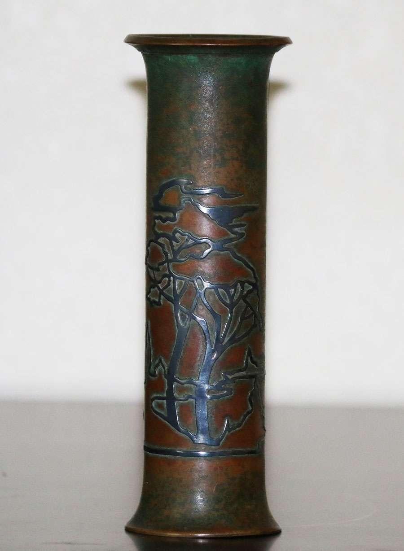 Two Heintz Sterling on Bronze Vases  California