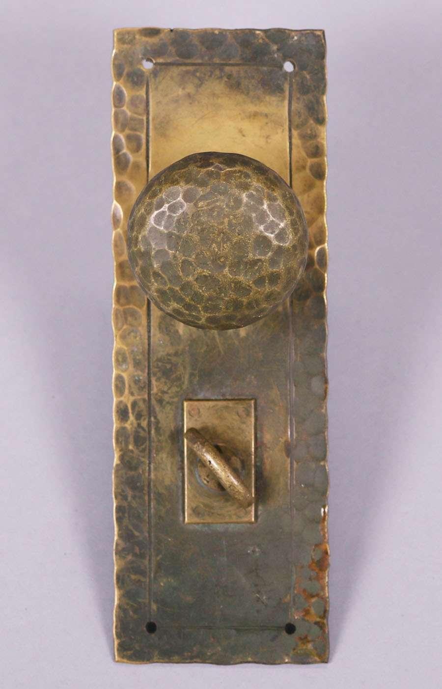 Arts  Crafts Hammered Brass Door Knob Set c1910