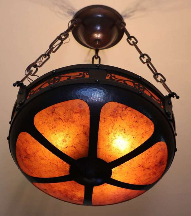 Small Michael Adams Aurora Studios Hammered Copper Mica Chandelier C2003 Signed Excellent Condition 18 D X 24 H Overall Sold