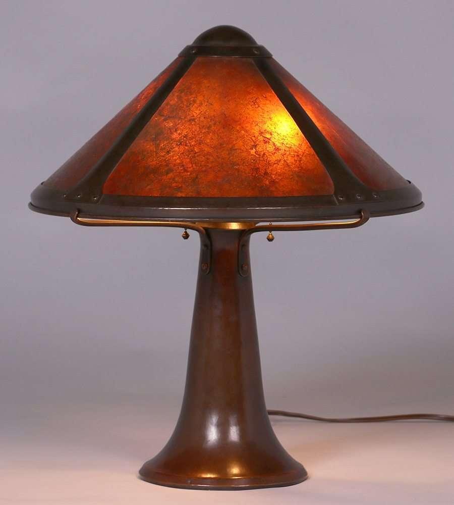 Dirk van Erp Hammered Copper  Mica Trumpet Lamp c1914