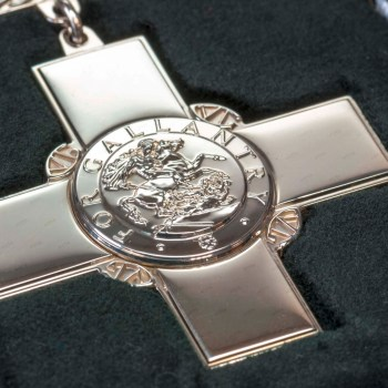The George Cross is manufactured at Worcester Medals Service Ltd. in Bromsgrove.